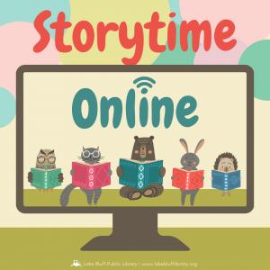 """Woodland animals reading books on a computer monitor underneath the text  """"Storytime Online."""""""